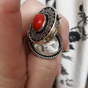 New Coral 925 Silver Poison Ring.